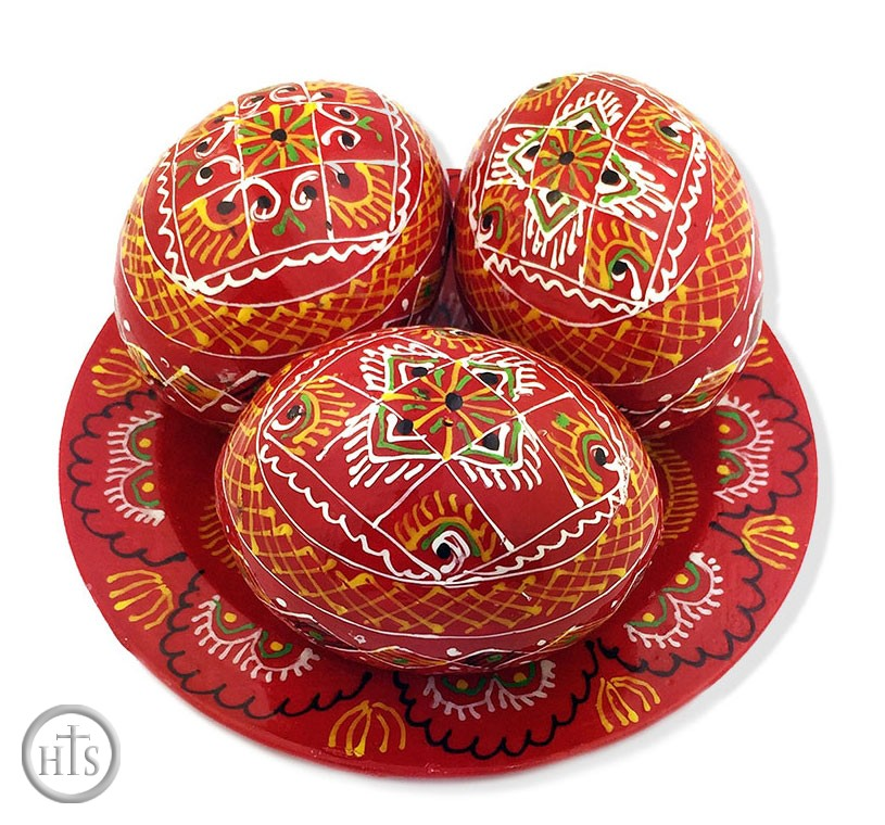 Image - 3 Wooden Ukrainian Pysanky Eggs on Its Plate, Hand Painted, Red