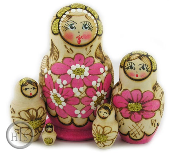 HolyTrinityStore Photo - 5 Nested  Woodburn Matrioshka Doll, Hand Carved Hand Painted