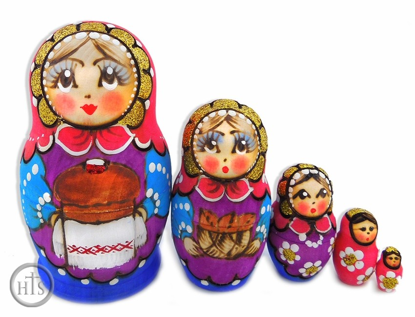 Product Image - 5 Nested Matreshka Wooden Dolls