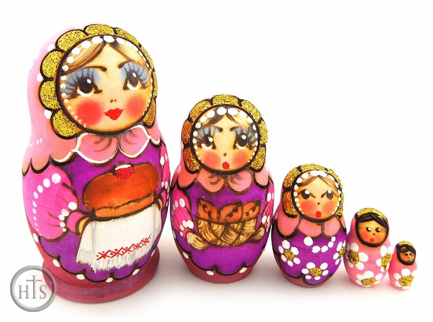 Pic - 5 Nested Matreshka Wooden Dolls