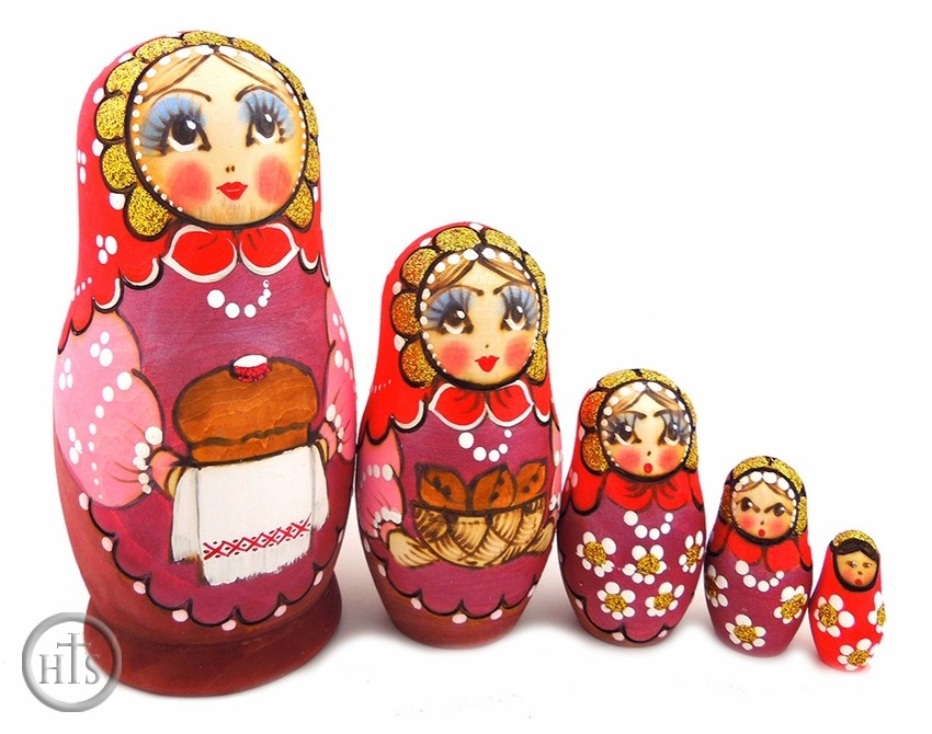 Photo - 5 Nested Matreshka Wooden Dolls