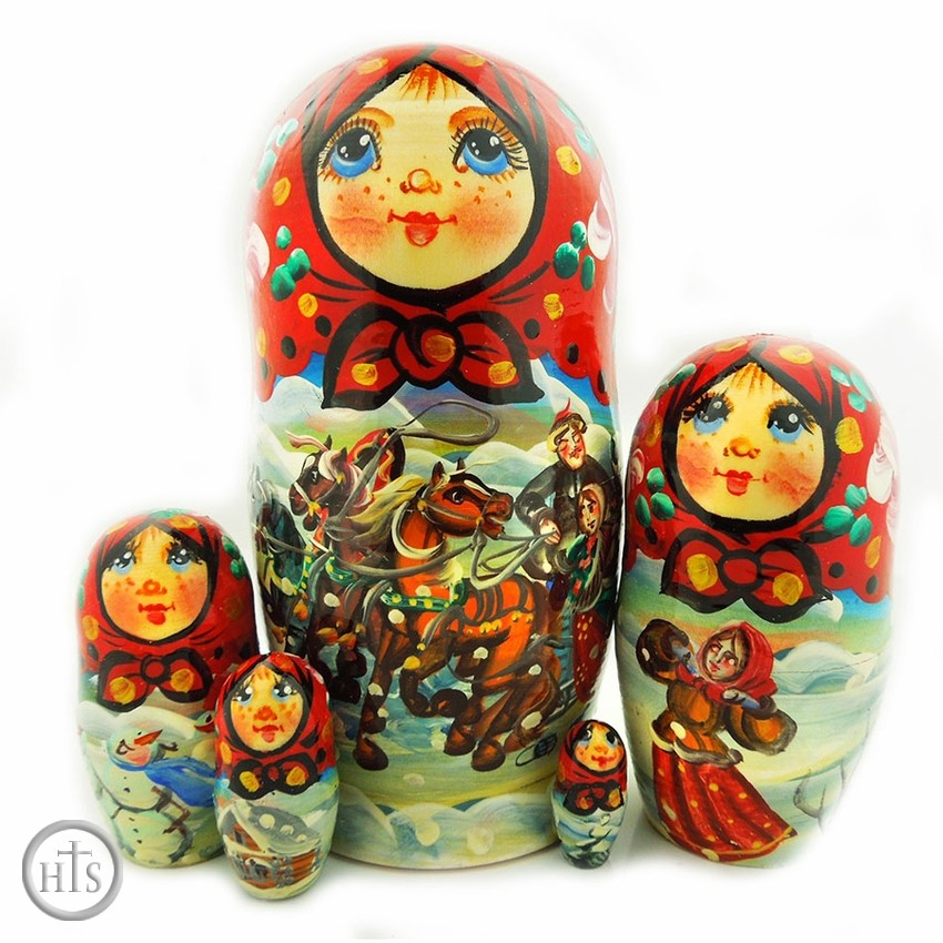 Product Picture - 5 Nesting Matreshka Wooden Dolls