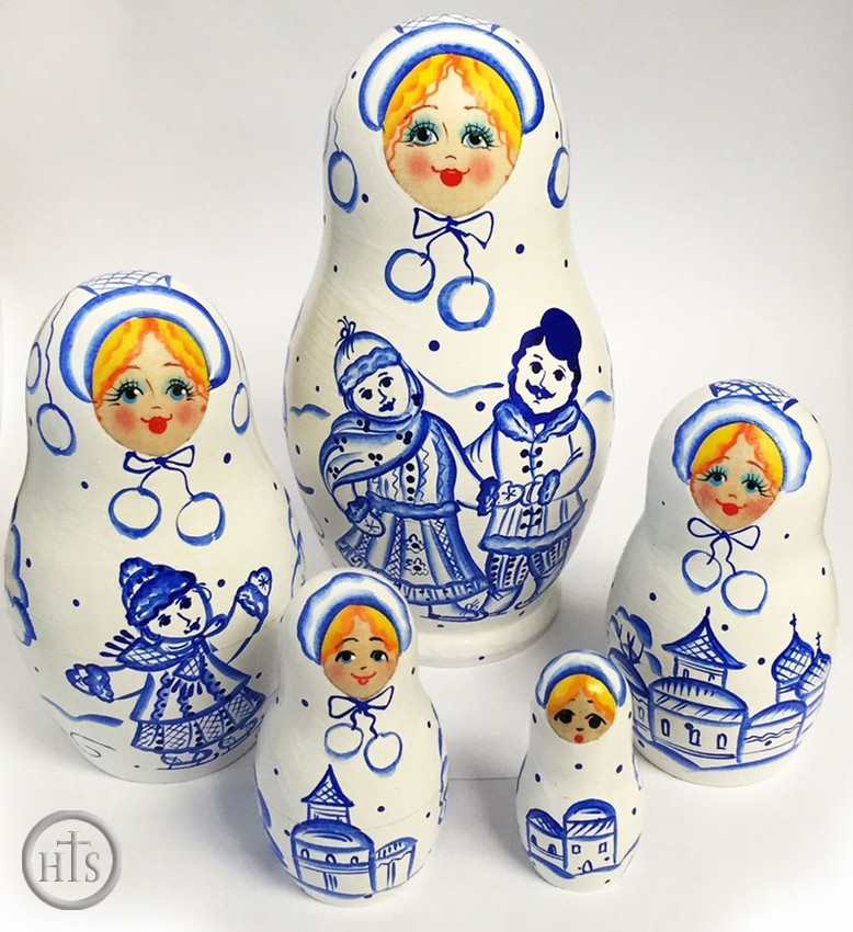 Product Picture - 5 Nesting Wooden Matreshka Dolls,