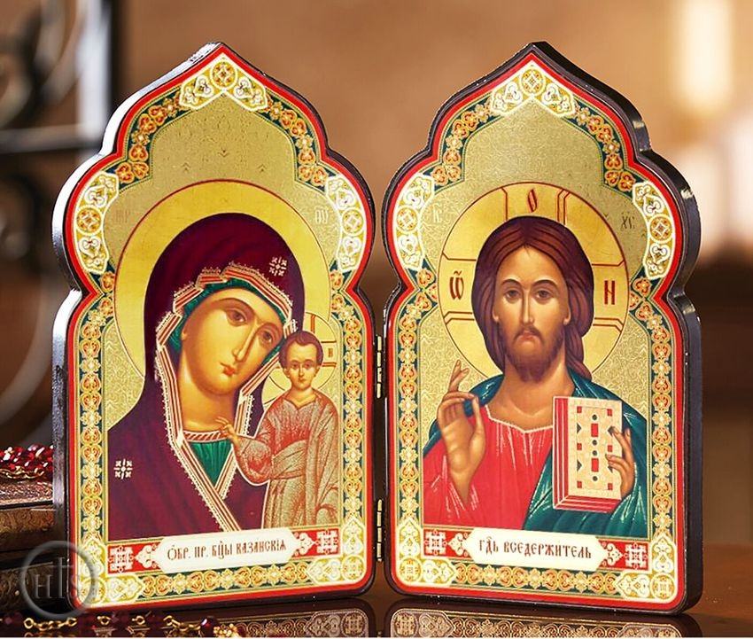 Product Photo - Christ The Teacher and Virgin of Kazan,  Classic Wooden Diptych