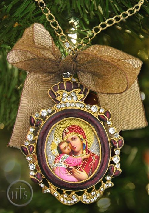 Picture - Virgin of Vladimir,  Enamel Framed Icon Pendant w/Chain & Bow, Red