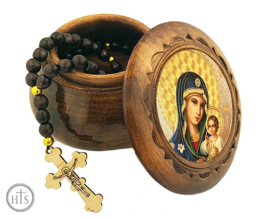Photo - Rosary Keepsake Holder Box with Icon of Virgin Mary Eternal Bloom