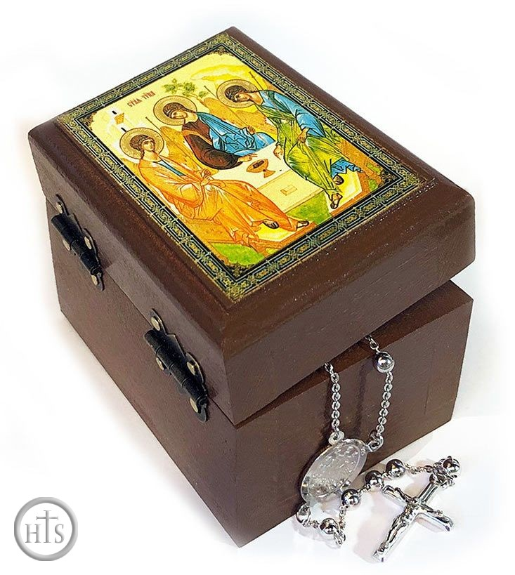HolyTrinityStore Photo - Rosary Keepsake Holder Box with Icon of Holy Trinity