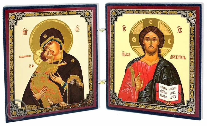 Photo - Virgin of Vladimir & Christ the Teacher, Orthodox Mini Diptych Icon
