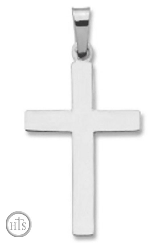 Product Pic - 14KT White Gold Cross, Plain  Design, 7/8