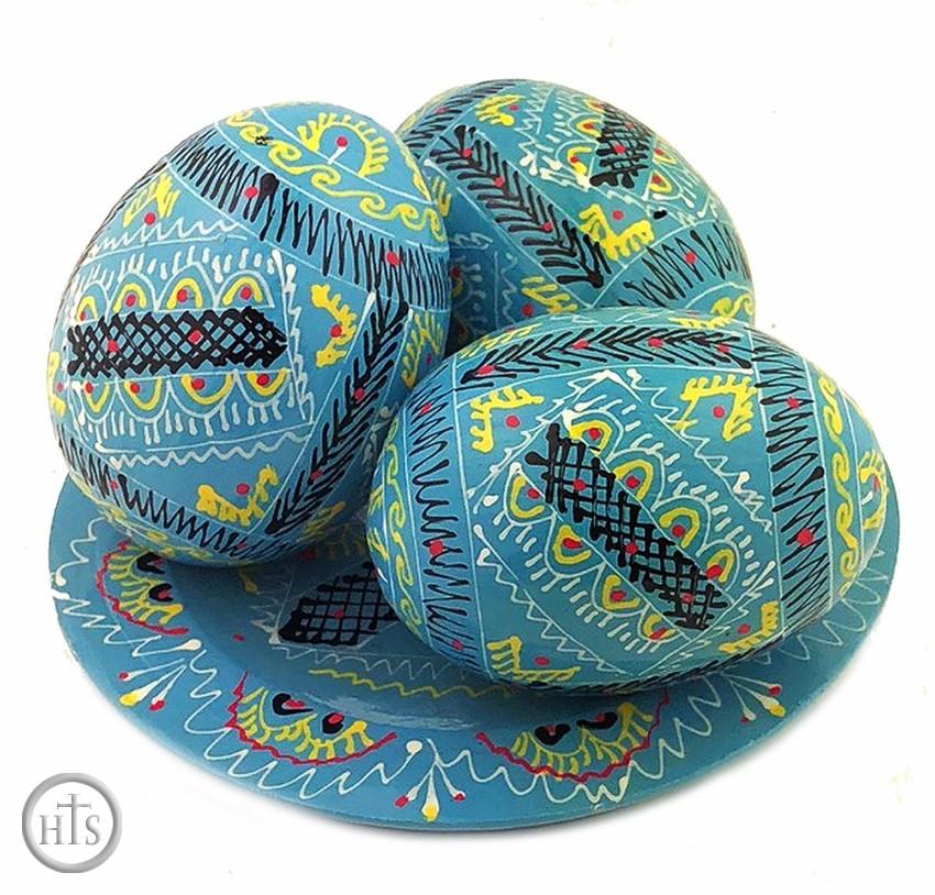 HolyTrinityStore Image - 3 Wooden Ukrainian Pysanky Eggs on Its Plate, Turquoise