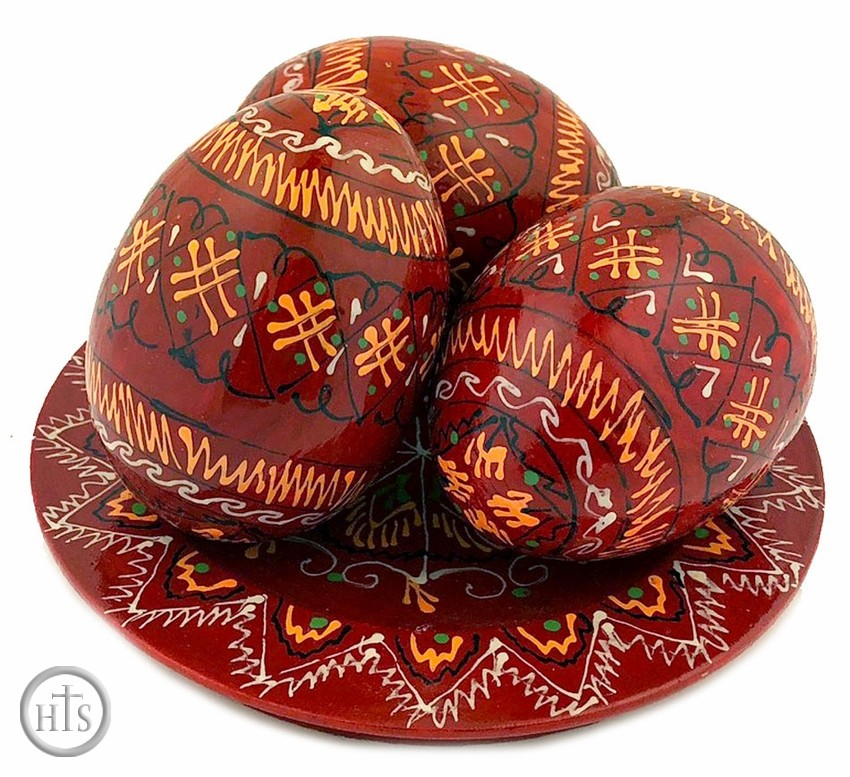 Photo - 3 Wooden   Pysanky Eggs on Its Plate, Hand Painted, Dark Red