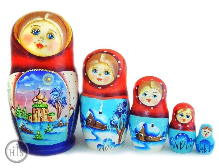 HolyTrinityStore Picture - 5 Nested Matreshka Wooden Dolls