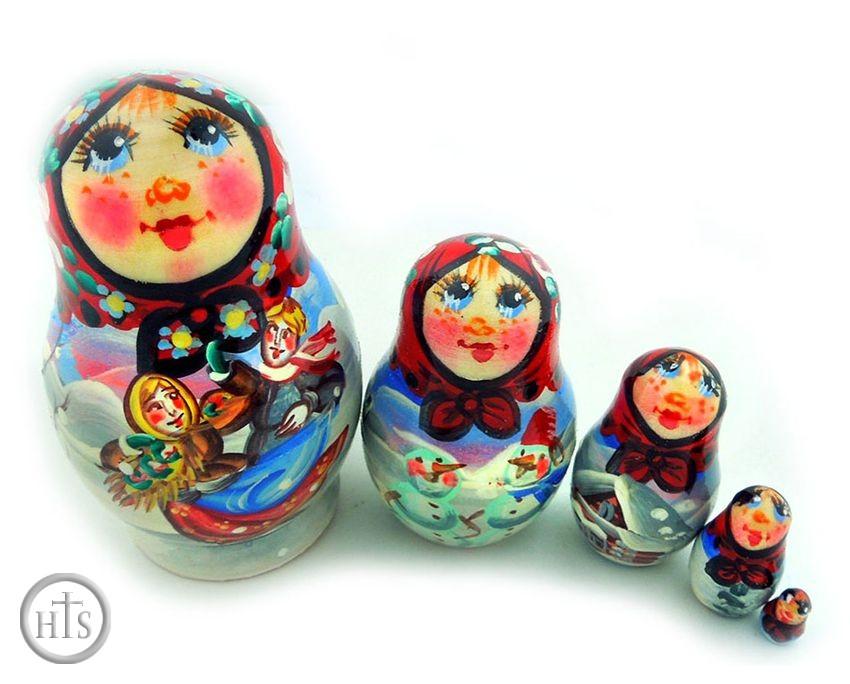 HolyTrinityStore Image - 5 Nesting Matreshka Wooden Dolls