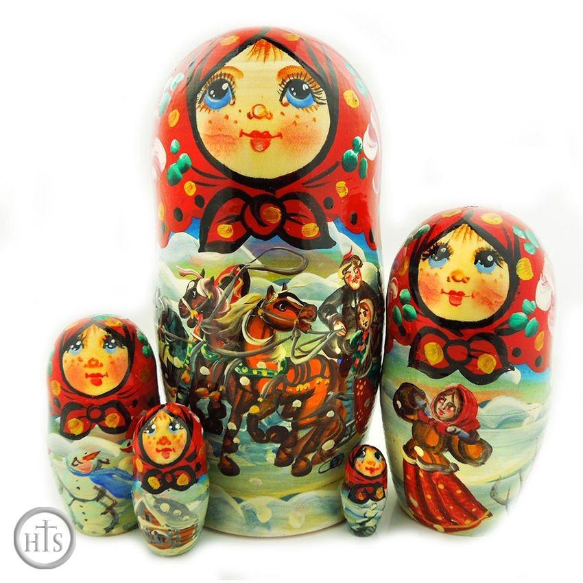 HolyTrinityStore Photo - 5 Nesting Matreshka Wooden Dolls