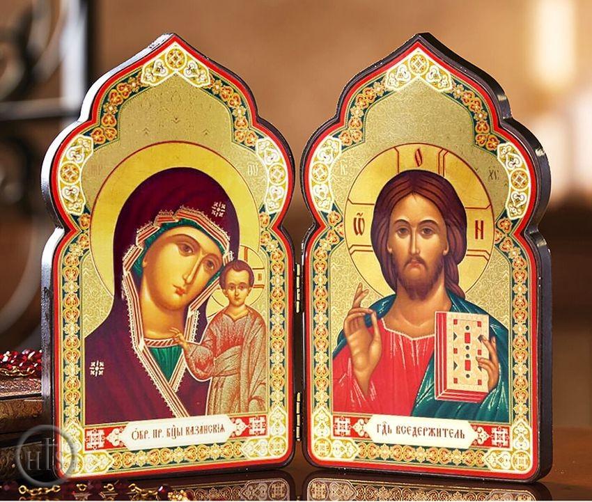 HolyTrinityStore Photo - Christ The Teacher and Virgin of Kazan,  Classic Wooden Diptych