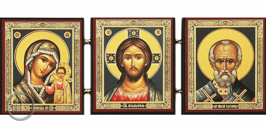 HolyTrinityStore Image - Christ The Teacher, Virgin of Kazan & Saint Nicholas, Foldable Triptych Icon
