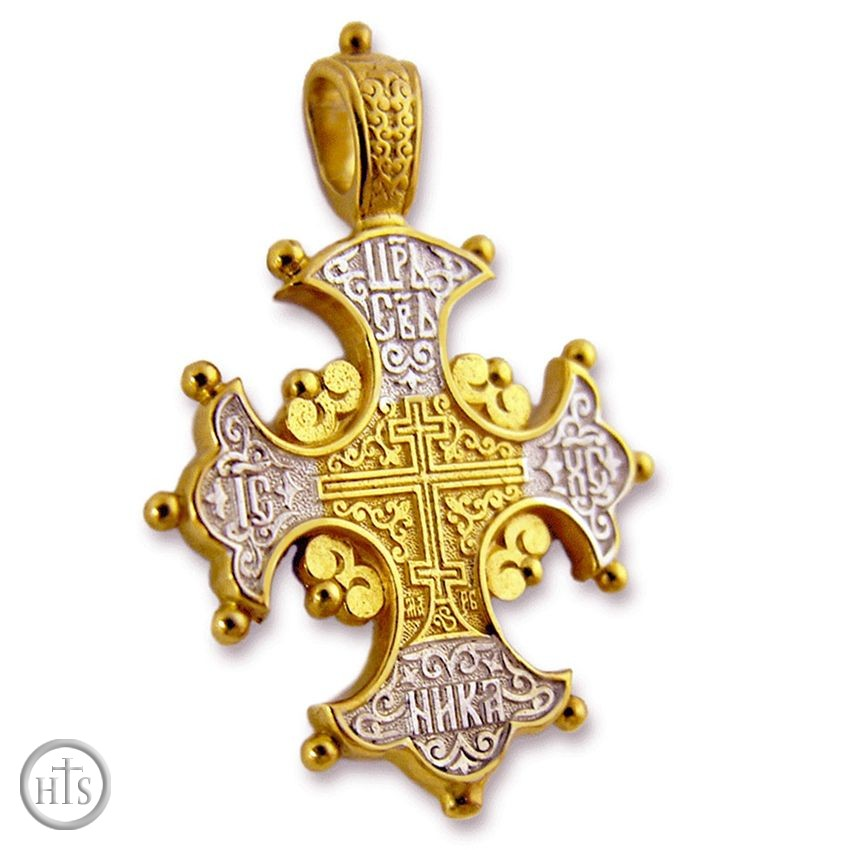 HolyTrinityStore Photo - Reversible Orthodox Cross with Lilies, Sterling Silver, Gold Plated