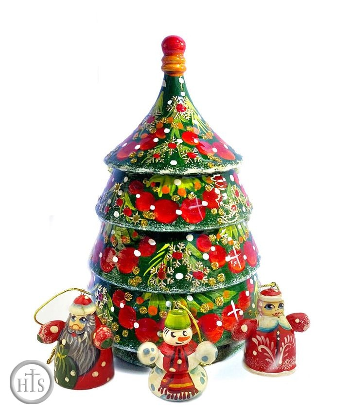 HolyTrinityStore Image - Christmas Wooden Tree with 3 Ornaments, Hand Made