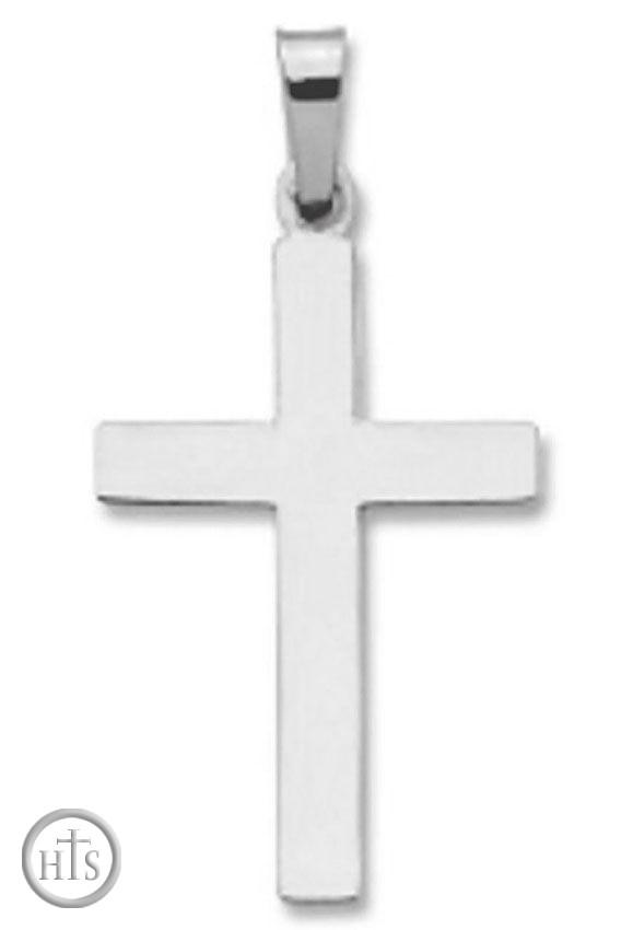 Product Image - 14KT White Gold Cross, Plain  Design, 7/8